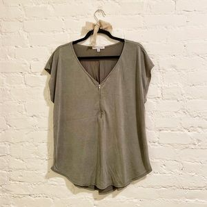 Olive Green Zip Up Tee Size XL